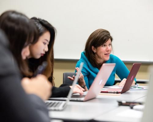 Professor Julie Harding teaching a marketing class