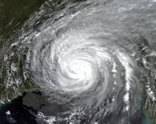 Satellite image of Hurricane Katrina over New Orleans