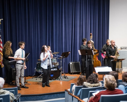Students performing during the jazz concert