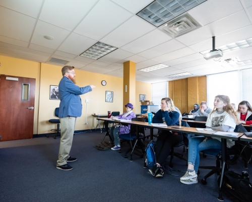 Michael Williams teach a class in Mills Hall