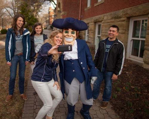 Putnam mascot with students