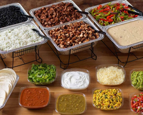 Qdoba catering food and set up