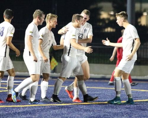 Men's soccer players celebrating a goal