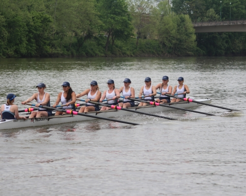 women's crew rowing on the Muskingum