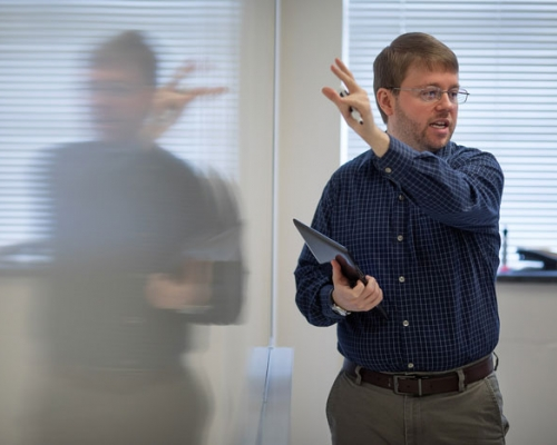 Professor Matt Williamson lecturing in class