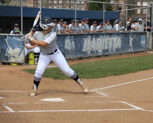 Marietta softball player batting