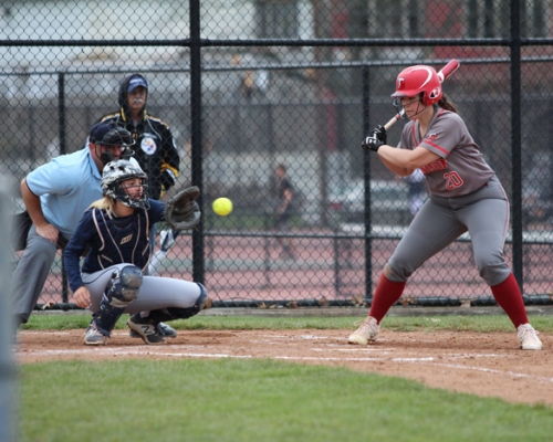 Softball catcher receiving a pitch